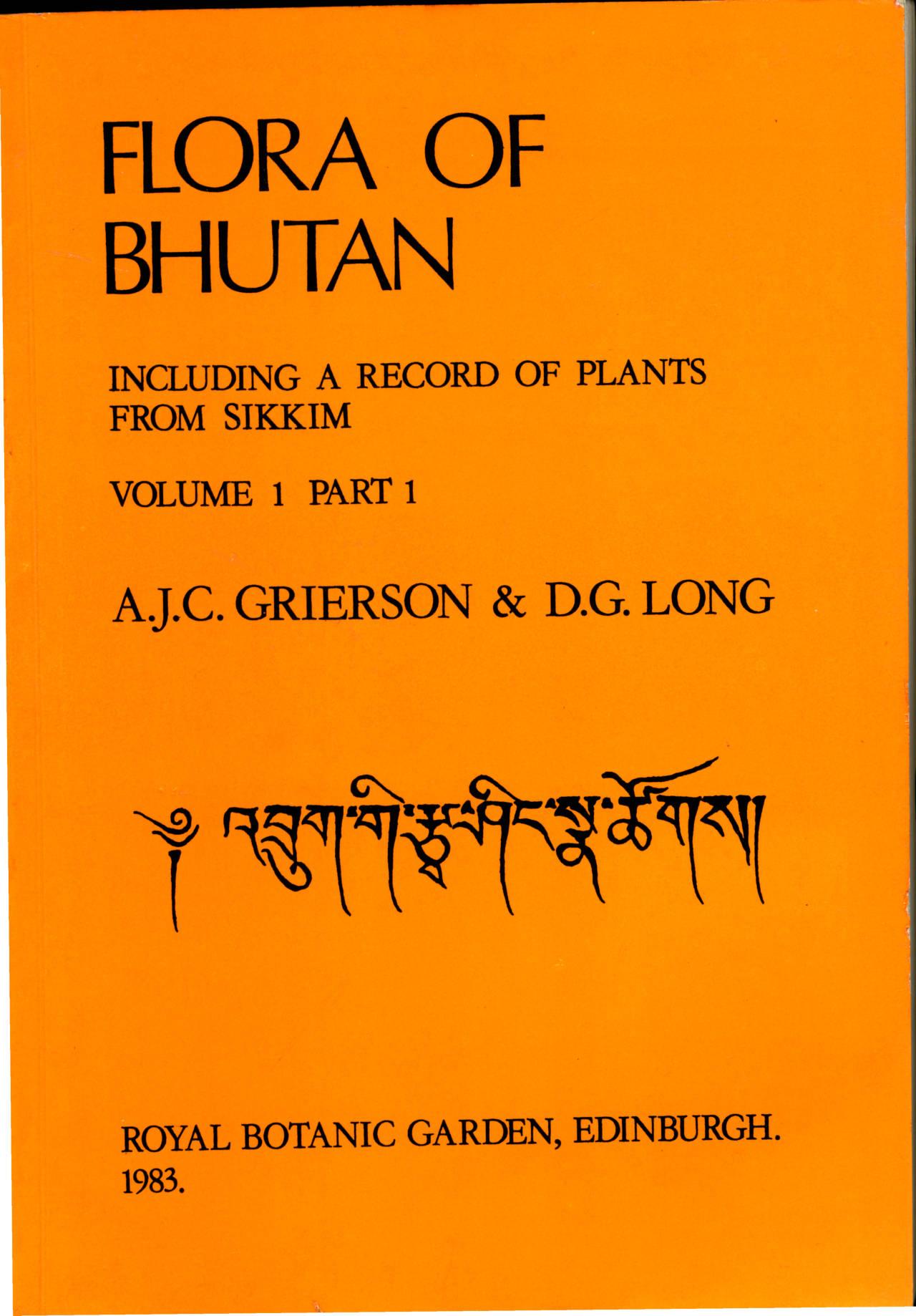 FLORA OF BHUTAN VOLUME 1 PART 1