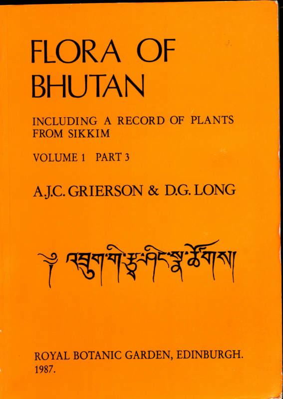 FLORA OF BHUTAN VOLUME 1 PART 3