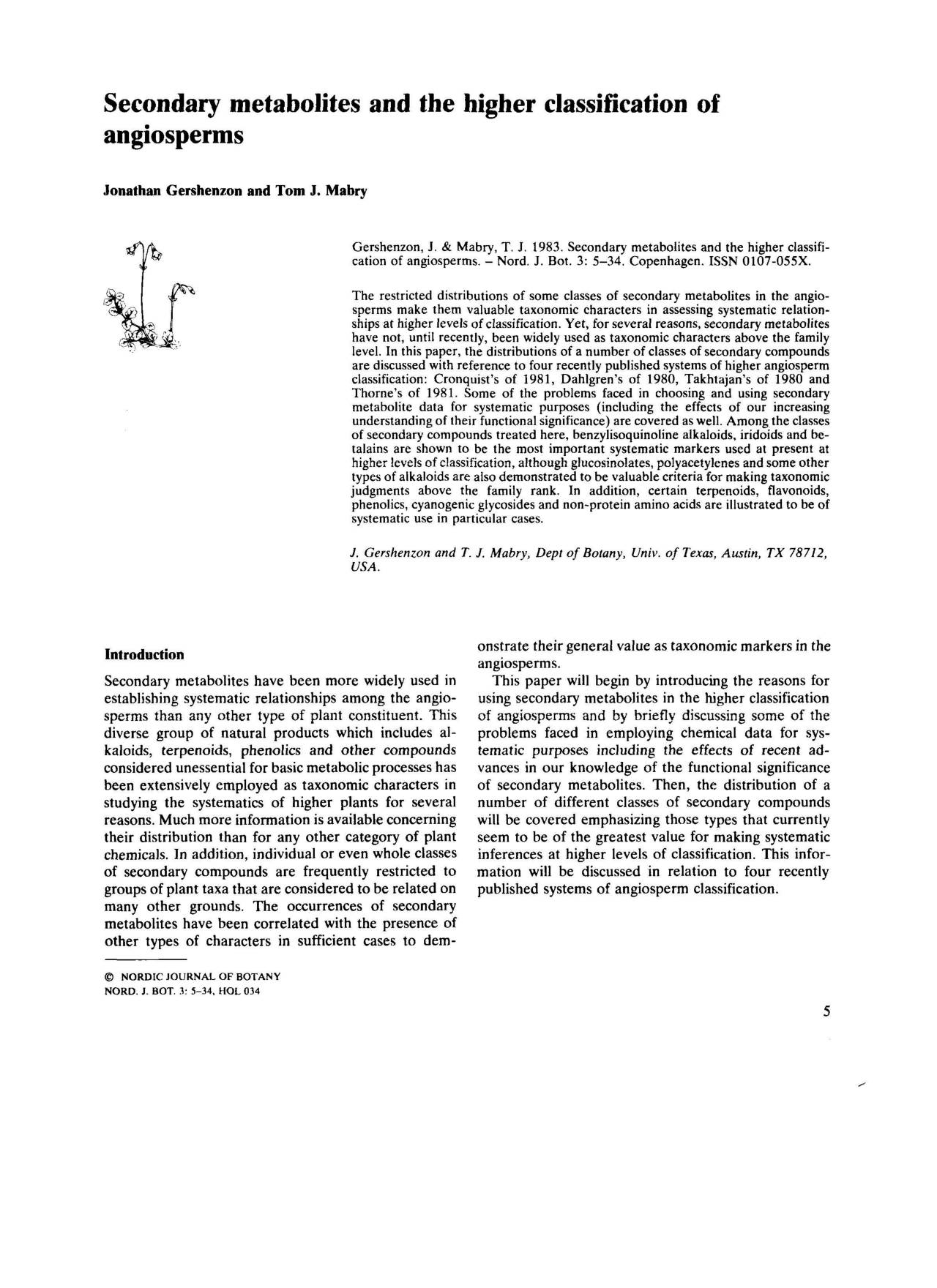Secondary metabolites and the higher classification of angiosperms
