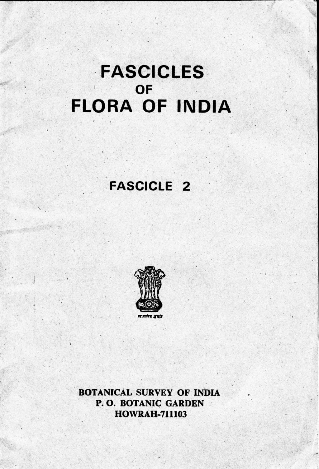 FASCICLES OF FLORA OF INDIA FASCICLE 2